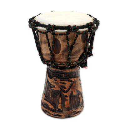 Mahogany mini djembe drum, 'Elephant Music' - Elephant-Themed Mahogany Mini Djembe Drum from Bali