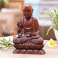 Wood sculpture, 'Praying Buddha' - Handmade Suar Wood Buddha Sculpture Hand Carved in Bali