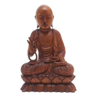 Handmade Suar Wood Buddha Sculpture Hand Carved in Bali