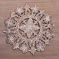 Wood relief panel, 'Jepun Bloom' - Hand Carved Suar Wood Jepun Flower Wall Relief Panel