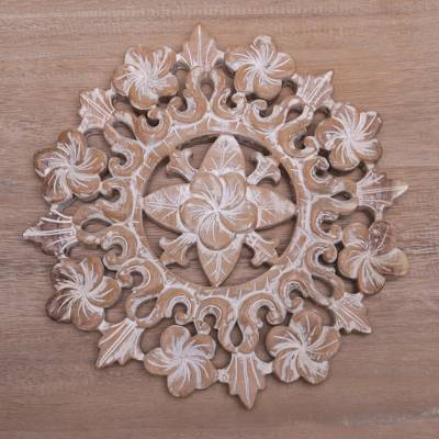 Hand carved suar wood jepun flower wall relief panel jepun bloom