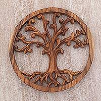Wood relief panel, 'Rooted in Earth' - Balinese Hand Carved Suar Wood Tree Wall Relief Panel