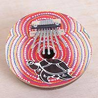 Coconut shell thumb piano, 'Joyous Turtle' - Handmade Coconut Shell and Wood Turtle Kalimba Thumb Piano