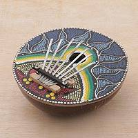 Coconut shell kalimba thumb piano, 'Early to Rise' - Handmade Coconut Shell and Wood Kalimba Thumb Piano