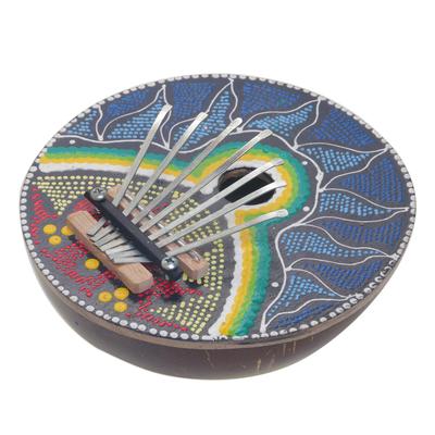 Coconut shell kalimba thumb piano, 'Early to Rise' - Handmade Coconut Shell and Wood Kalimba Thumb Piano
