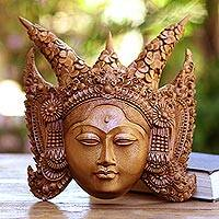 Wood mask, 'Legong Kraton' - Suar Wood Wall Mask of a Legong Kraton Dancer from Bali