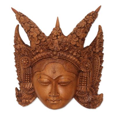 Wood mask, 'Legong Kraton' - Suar Wood Wall Mask of a Legong Kraton Dancer from Bali