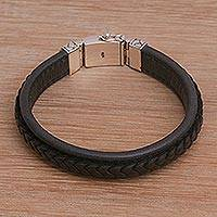 Men's leather and sterling silver wristband bracelet, 'Kuat in Black' - Men's Leather and Sterling Silver Wristband Bracelet