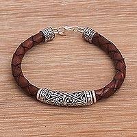 Leather and sterling silver bracelet, 'Lost Kingdom in Brown' - Sterling Silver and Leather Cord Bracelet from Bali