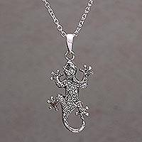 Sterling silver pendant necklace, 'Climbing Tokek' - Handmade in Bali 925 Sterling Silver Gecko Pendant Necklace