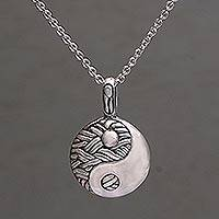 Sterling silver pendant necklace, 'Woven Duality' - Handmade 925 Sterling Silver Yin Yang Pendant Necklace