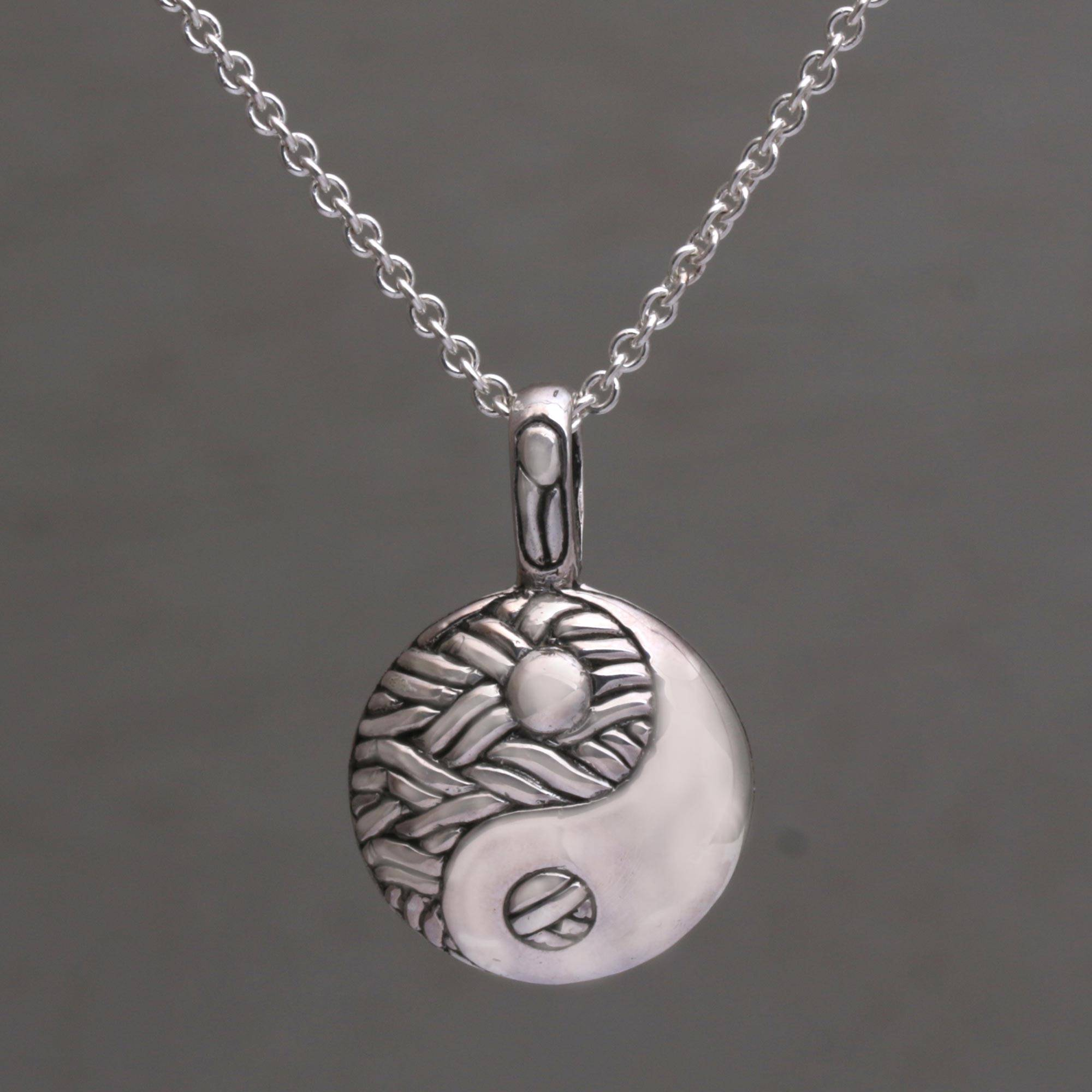 Yin Yang Symbol Red White Necklace Pendant Buddhist Silver Chain Glass