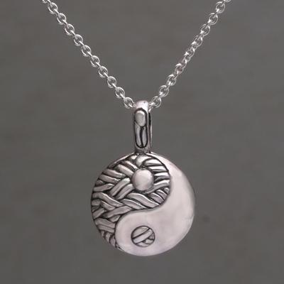 Handmade 925 sterling silver yin yang pendant necklace woven sterling silver pendant necklace woven duality handmade 925 sterling silver yin yang aloadofball Choice Image