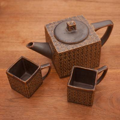 Ceramic tea set, 'Kawung Wedang Brown' (set for 2) - Ceramic Square Textured Brown Tea Set from Java (Set for 2)