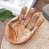 Wood jewelry tray, 'Lending a Hand' - Artisan Hand Carved Handmade Suar Wood Hand Jewelry Tray