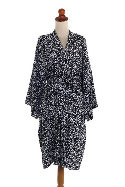 Silk Screen White Flowers on Black Rayon Short Robe