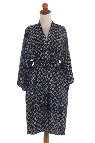 White Swirls on Black Rayon Short Robe