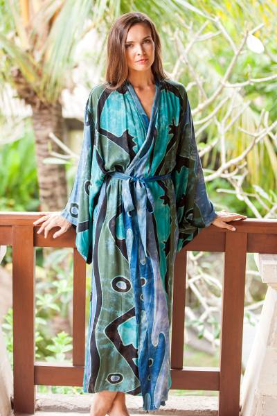 Rayon batik robe, 'Atmosphere' - Teal Black and Blue Rayon Batik Long Sleeved Lounge Robe