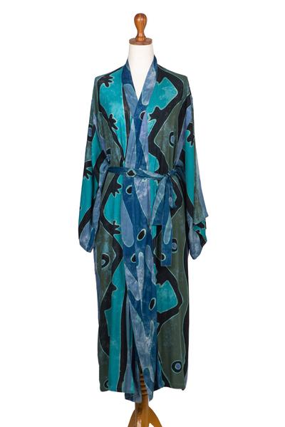 Rayon batik robe, 'Atmosphere' - Teal Black and Blue Rayon Batik Long Sleeved Lounge Robe