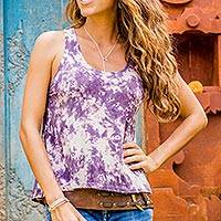 Tie-dyed rayon blend tank top, 'Pixie Gal in Purple' - Purple and White Abstract Tie Dyed Sleeveless Rayon Tank Top