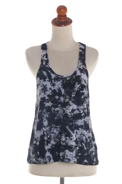 3fce838edbc2b8 Black and White Abstract Tie Dye Sleeveless Rayon Tank Top - Pixie ...