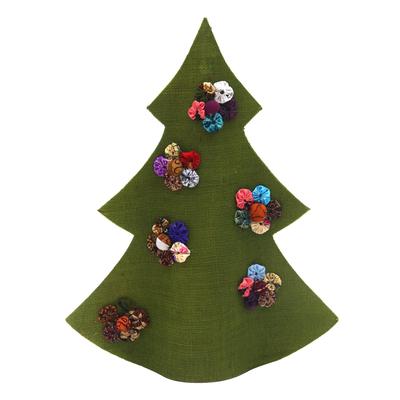 Handmade Green Batik Christmas Tree Decorative Sculpture