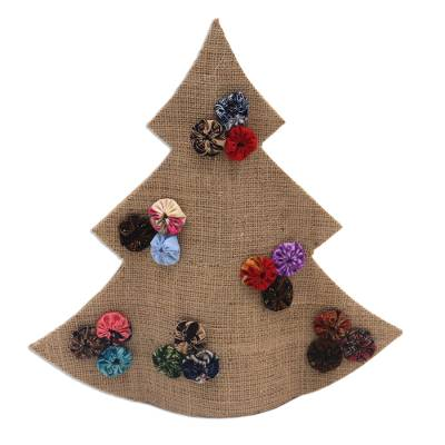 Handmade Brown Batik Christmas Tree Decorative Sculpture
