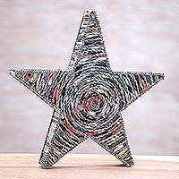 Recycled paper home accent, 'Starlight Blessing' - Handmade Recycled Paper Star Table Art Holiday Decor