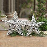 Recycled plastic wall art, 'Woven Stars' (pair) - Handmade Eco-Friendly Plastic Star Wall Art (Pair)