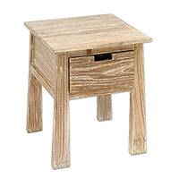 Teakwood accent table, 'Craftsman in White' - Handcrafted Teakwood One Drawer Whitewashed Accent Table