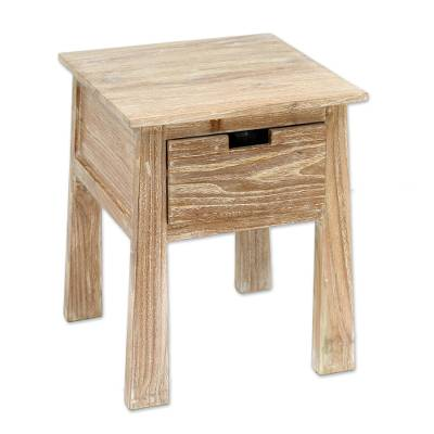 Handcrafted Teak Wood One Drawer Whitewashed Accent Table