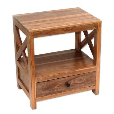 Teakwood nightstand, 'Colony Style' - Handcrafted Teakwood Nightstand in Brown from Bali