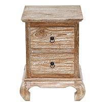 Teakwood nightstand, 'Menara Classic' - Handmade Teakwood Drawer Nightstand in Whitewash Finish