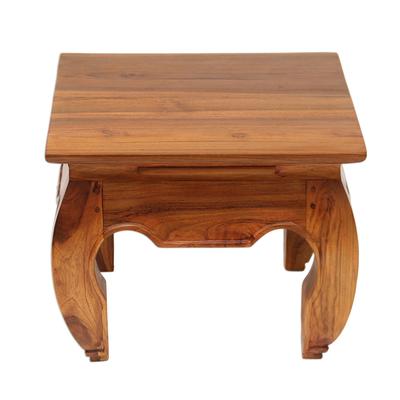 Handmade Teak Wood Wide Top End Table Hand Carved in Bali