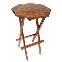 Teakwood folding accent table, 'Tropical Octagon' - Handmade Carved Teakwood Folding Accent Table Made in Bali