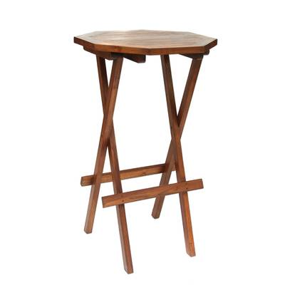 Handmade Carved Teak Wood Folding Accent Table Made in Bali