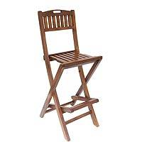 Teakwood folding bar stool, 'Parallel Slats' - Handcrafted Teakwood Folding Bar Stool Made in Bali