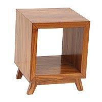 Teakwood nightstand, 'Kintamani Cube' - Minimalist Mid-Century Teakwood Nightstand Crafted in Bali