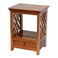 Teakwood nightstand, 'Diagonal Lines' - Handcrafted Modern Teakwood Nightstand with a Drawer