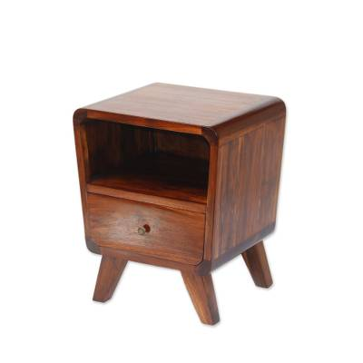Teakwood nightstand, 'Tegalalang Heritage' - Modern Teakwood Nighstand Crafted in Bali