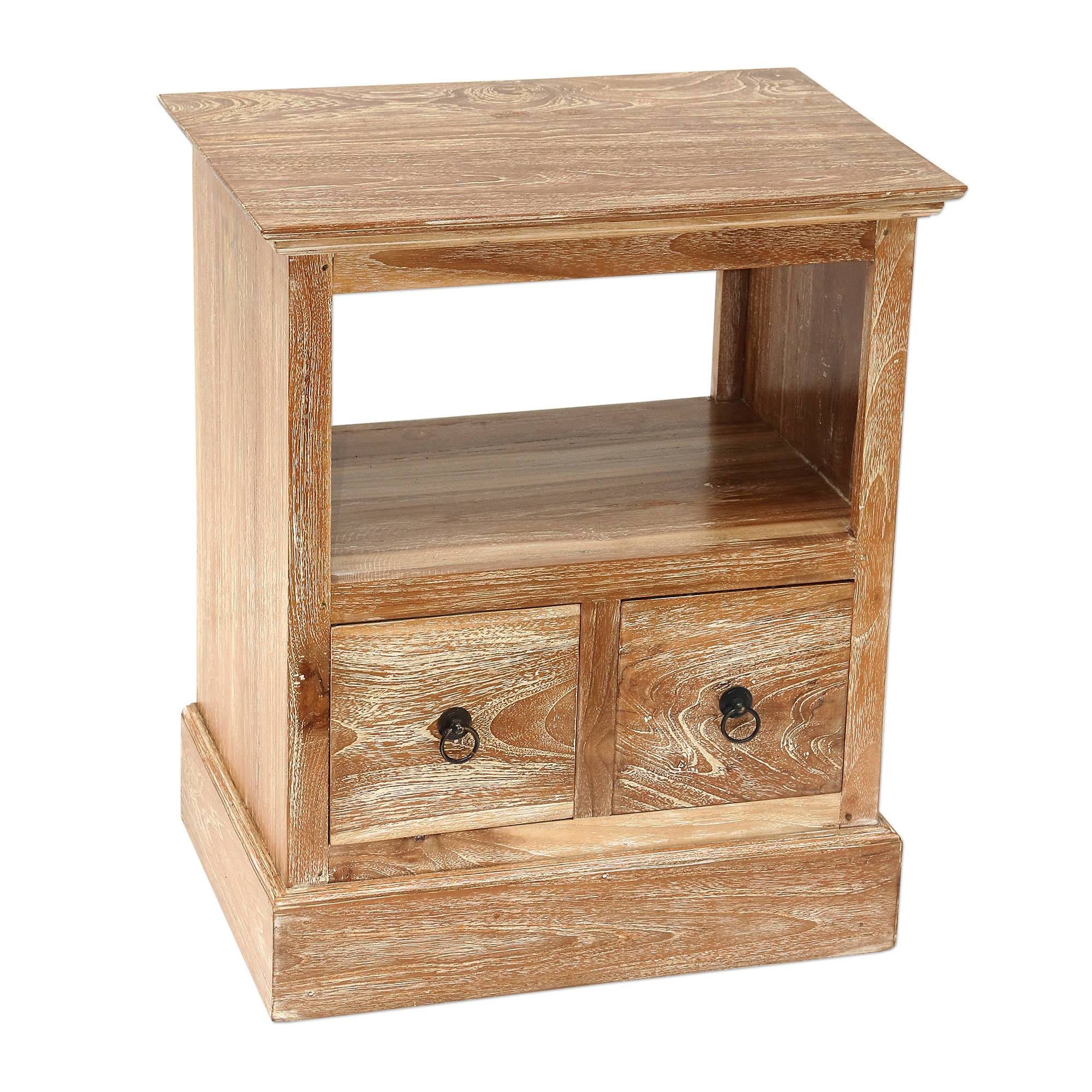 Handmade Carved Natural Teakwood Nightstand With Drawers Tabanan Classic