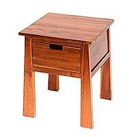 Teakwood accent table, 'Craftsman' - Handcrafted Teakwood One Drawer Natural Finish Accent Table