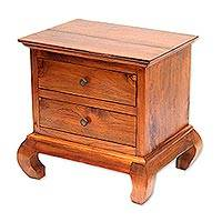 Teakwood accent table, 'Curve Appeal' - Handcrafted Teakwood Two Drawer Low Accent Table
