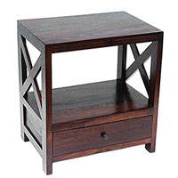Teakwood nightstand, 'Colony Style in Dark Brown' - Handcrafted Teakwood Nightstand in Dark Brown from Bali