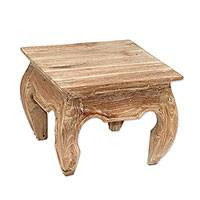 Teakwood end table, 'Whitewashed Kuta Beach' - Whitewashed Teakwood End Table from Bali