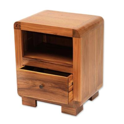 Teak wood accent table, 'Mod Appeal' - Handcrafted Teak Wood Single Drawer and Shelf Accent Table