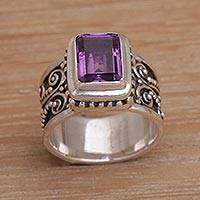 Amethyst cocktail ring, 'Quadratic Agreement' - Handmade 925 Sterling Silver Purple Amethyst Cocktail Ring