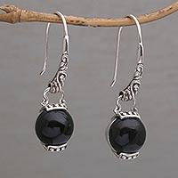 e6544509b Onyx dangle earrings, 'Tilem Moon' - Handmade 925 Sterling Silver Onyx  Dangle Earrings