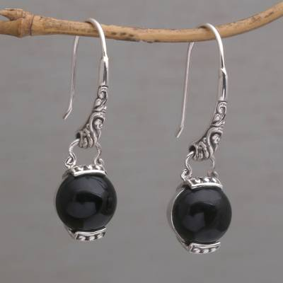 Onyx dangle earrings, 'Tilem Moon' - Handmade 925 Sterling Silver Onyx Dangle Earrings from Bali