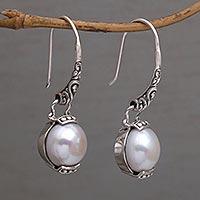 Cultured pearl dangle earrings, 'Purnama Moon' - Moon Inspired Handmade 925 Silver Cultured Pearl Earrings